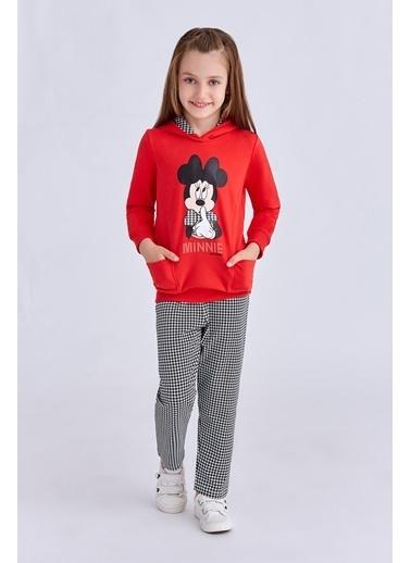 Mickey Mouse Mickey & Minnie Mouse Lisanslı Kız Çocuk Eşofman Takımı Açık Kırmızı Kırmızı